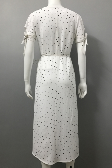 V Neck Short Sleeve Polka Dot Printed Midi Asymmetric Dress