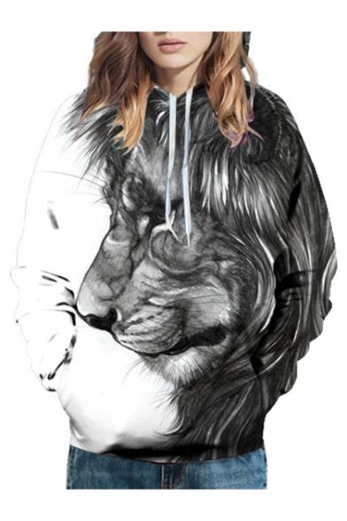 Leisure 3D Block Hoodie Sleeve Printed Color Lion Long xzHwUqYSvz