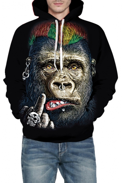 3D Leisure Long Orangutan Loose Hoodie Sleeve Printed 46wzq4