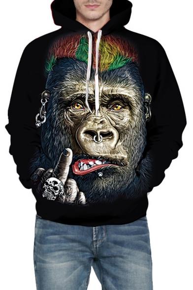 Loose Orangutan 3D Hoodie Leisure Sleeve Long Printed w4qxCRtqp