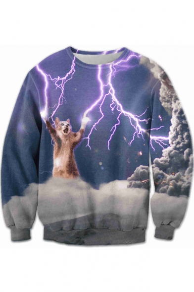 3D Round Neck Lightning Cat Printed Long Sleeve Sweatshirt