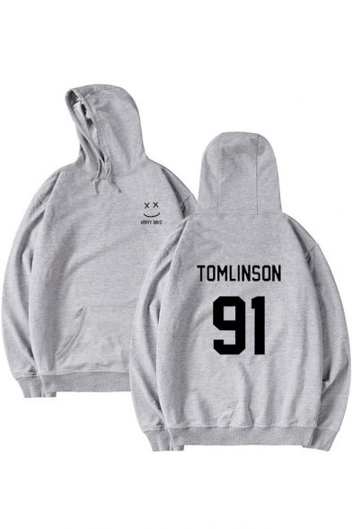 Printed 91 Letter Hoodie Smile Face Leisure Loose qTt7T