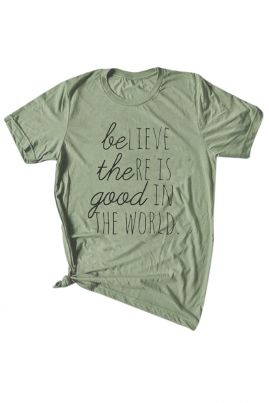 Printed Sleeve Round Tee GOOD Neck THE Letter BE Short wqt6AO