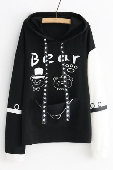 BEAR Letter Animal Printed Color Block Long Sleeve Hoodie