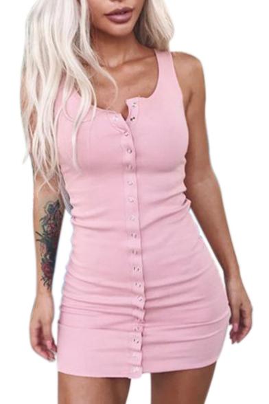 Button Down Round Neck Sleeveless Plain Mini Bodycon Dress