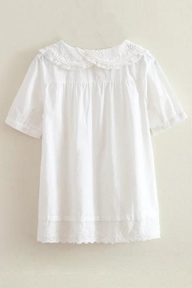 Pleated Pan Shirt Peter Plain Short Collar Chic Sleeve 05pYnxwqU