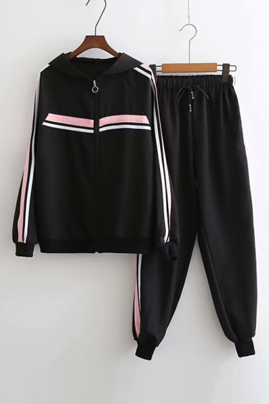 Up ords Zip Sleeve Printed Coat Long Contrast Elastic Leisure Pants Striped Co Hooded with Waist qx6Ewt6XS