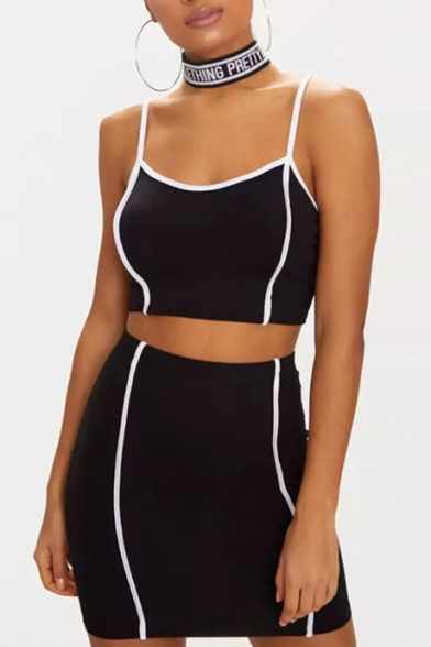 Contrast Striped Spaghetti Straps Sleeveless Crop Cami with Mini Bodycon Skirt Co-ords, LC477346