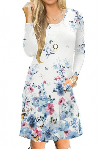 Fashion Floral Butterfly Printed Round Neck Long Sleeve Midi A-Line Dress