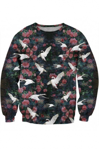 Sleeve Crane Neck Round Long Floral Printed Sweatshirt qH0xS