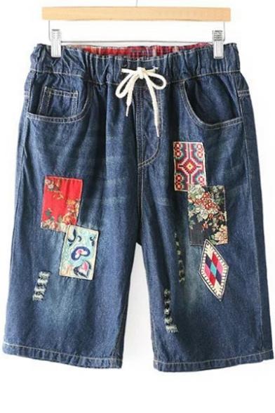 Folk Style Applique Drawstring Waist Loose Denim Shorts