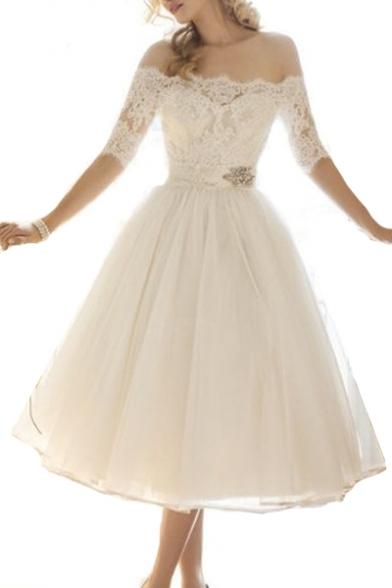Lace Patchwork Off The Shoulder Half Sleeve Midi A-Line Dress
