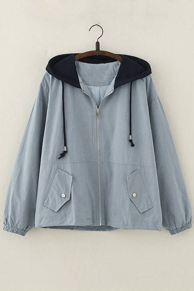 Letter Embroidered Back Long Sleeve Zip Up Loose Hooded Coat