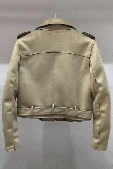 Notched Lapel Collar Long Sleeve Plain Crop Suede Jacket