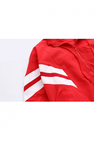 Oversize Contrast Striped Long Sleeve Lapel Collar Zip Up Coat