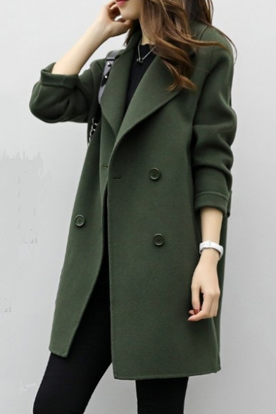 Plain Notched Lapel Collar Long Sleeve Double Breasted Tunic Coat