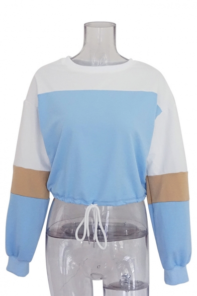 Color Sweatshirt Neck Crop Round Long Sleeve Hem Drawstring Block 851z1q