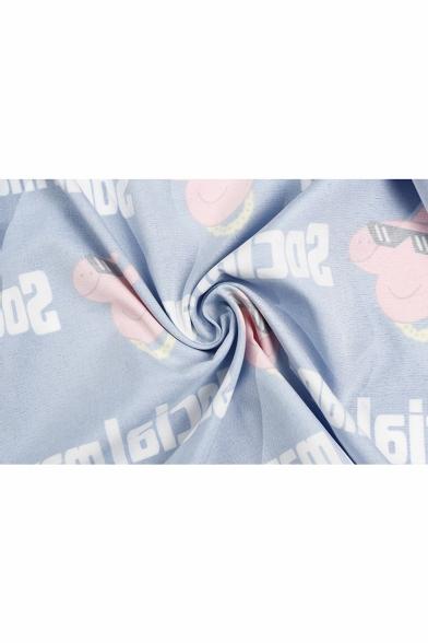 SOCIAL MAN Letter Pig Printed Short Sleeve Lapel Collar Button Down Shirt