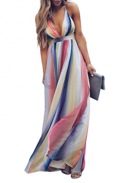 Spaghetti Straps Crisscross Open Back Striped Printed Maxi Cami Dress