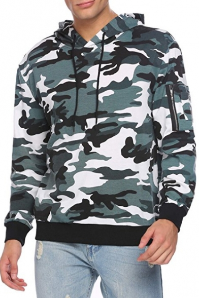 Sleeve Pocket Hoodie Zip Loose Printed Leisure Camouflage Long qEgxfPR