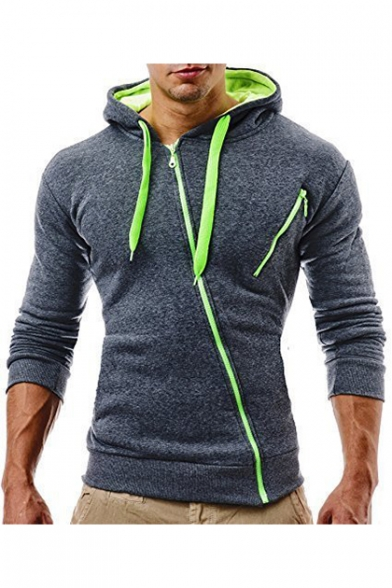 Zippered Long Sleeve Slim Leisure Ribbed Hoodie