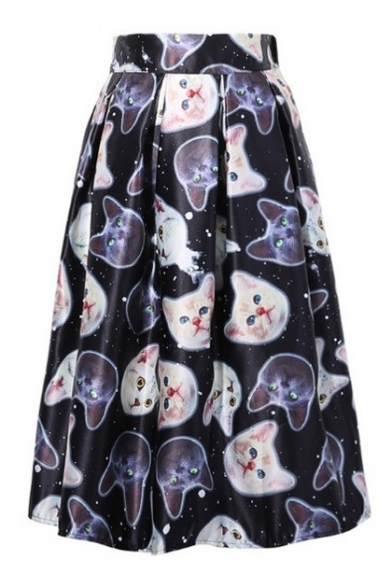 Image of 3D Cat Printed Elastic Waist Midi A-Line Skirt
