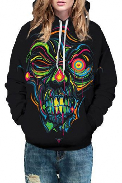 Long Sleeve Printed Character Abstract Hoodie Unisex wOqTTS