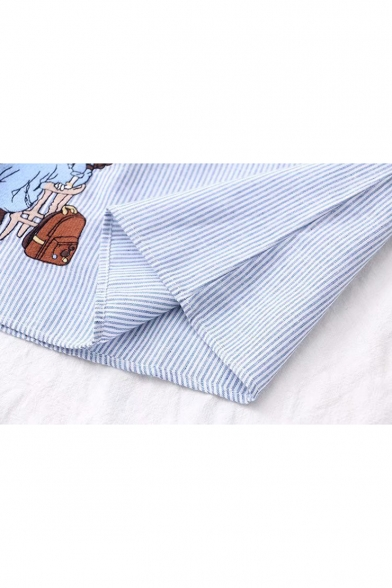 Cartoon Character Embroidered Stand Up Collar Short Sleeve Striped Printed Button Placket Shirt