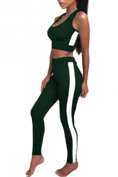Sleeveless ords Neck Sports Crop Co Leggings Round Contrast Chic Skinny with Tank Striped 7pwqIcctxO