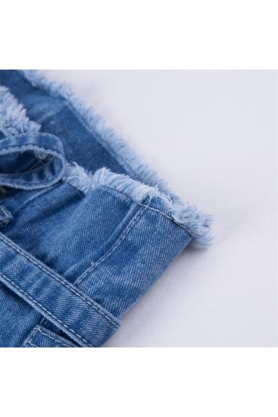 Chic Fringe Hem High Waist Plain Straight Jeans
