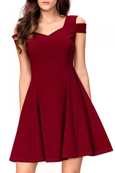 Mini Short Sleeve Neck Cold A Shoulder Plain V Line Dress HnnqvwY