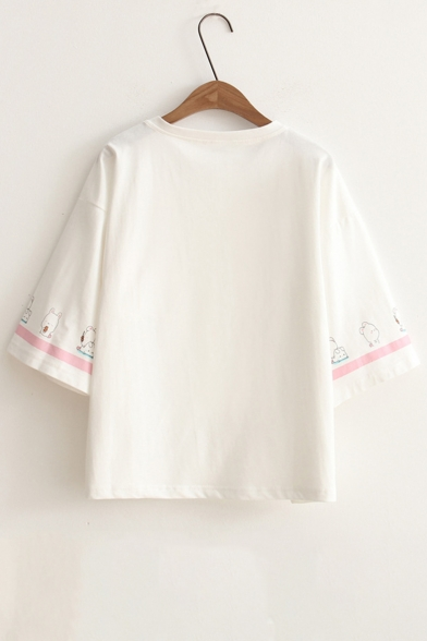 Contrast Short Tee Neck Round Rabbit Printed Sleeve Striped rnwTqB80r