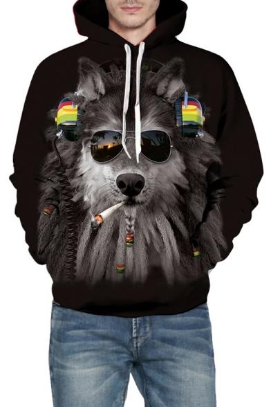 Cool Glasses Wolf Printed Long Sleeve Hoodie