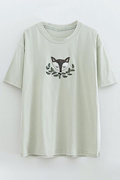 Embroidery Leaf Fox Casual Tee Short Sleeve Cute 7CEH5