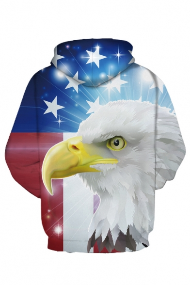 Eagle Hoodie Sleeve Star Oversize Color Printed Block Long wwqH0F