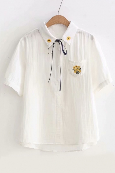 Pattern Embroidered Floral Short Sleeve Tie Bow Neck Shirt 5SBSr