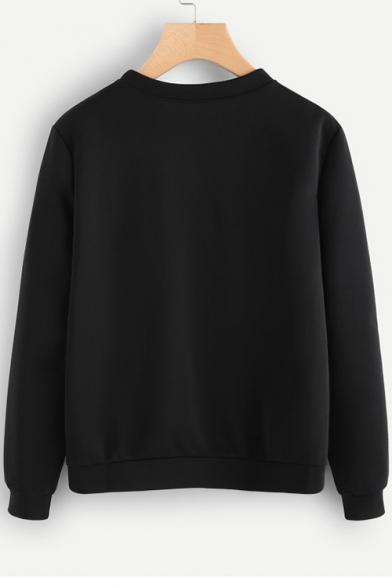 Printed Sweatshirt Round Neck Sleeve Eyelash Long qxUARqd