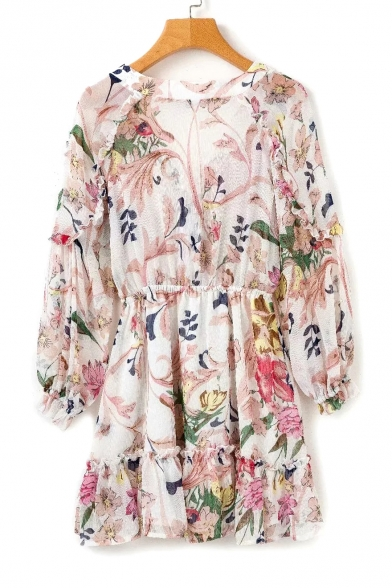 Holiday Floral Printed V Neck Long Sleeve Mini A-Line Dress
