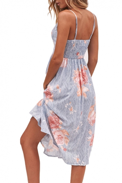 Hollow Out Knotted Front Floral Printed Spaghetti Straps Sleeveless Midi A-Line Dress