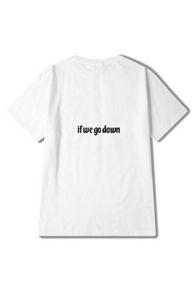 Round DOWN Short Letter WE Sleeve GO Tee IF Printed Neck XCSqnZ