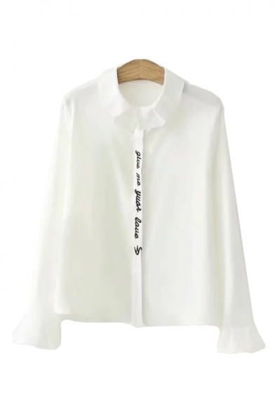 Long Placket Sleeve Letter Down Lapel Shirt Embroidered Collar Button fqwpIg5