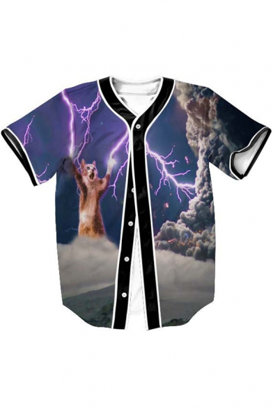 Lightning Cat Tee Sleeve V Baseball Down Neck Button Printed Short 77FHqrx