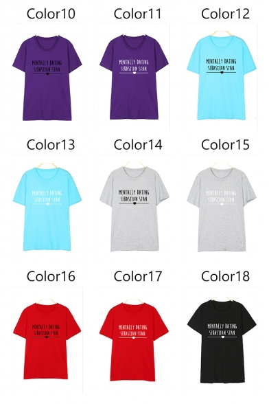 DATING Heart Tee Short Round Sleeve Printed Neck Letter MENTALLY PFT1WgBcc