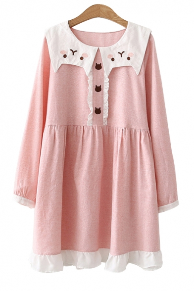 Navy Collar Cat Embroidered Long Sleeve Contrast Trim Midi Smock Dress