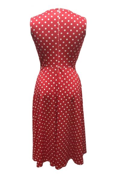 Retro Round Neck Sleeveless Polka Dot Printed Maxi A-Line Dress