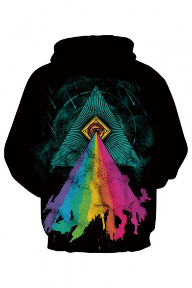Triangle Rainbow Color Printed Long Sleeve Unisex Hoodie
