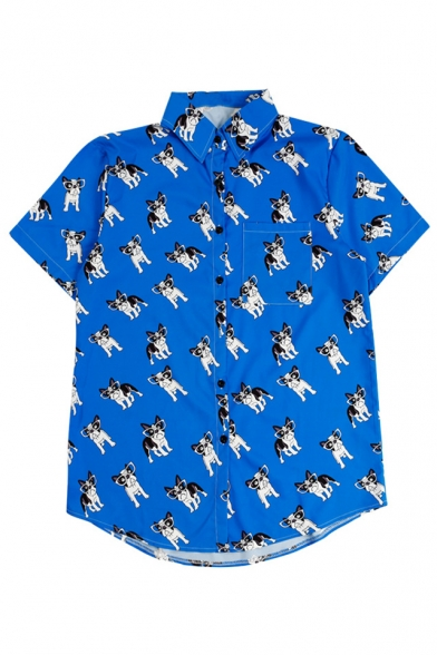All Dog Button Printed Short Lapel Down Sleeve Over Shirt Collar Glasses rEwq8SxrnU