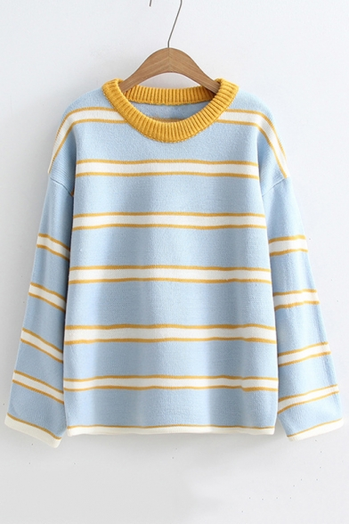 Printed Block Long Sleeve Striped Color Neck Round Loose Sweater Knit Ugvxq61w