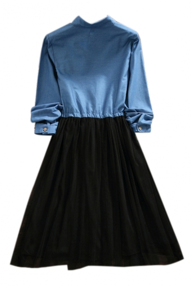 Denim Mesh Patchwork Bear Embroidered Lapel Collar Long Sleeve Midi A-Line Dress