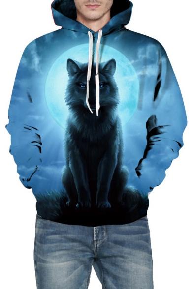 Digital Wolf Moon Printed Long Sleeve Loose Hoodie